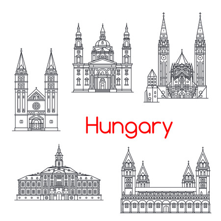 Hungary famous architecture vector landmark icons Illustration