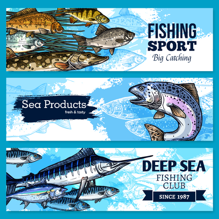 crucian: Vector banners of fishing club or sea fish product.
