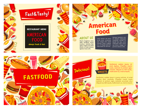 Fast food restaurant vector menu template design. Illustration
