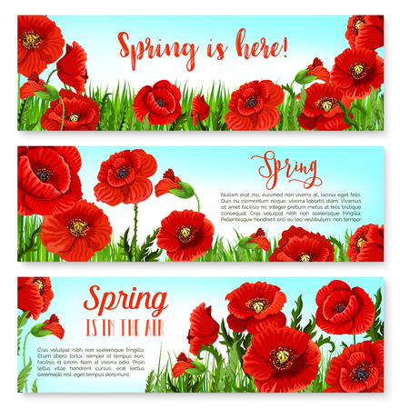 Vector spring time flowers on greeting banners set Illustration