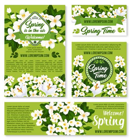Vector design floral de printemps pour les salutations de vacances