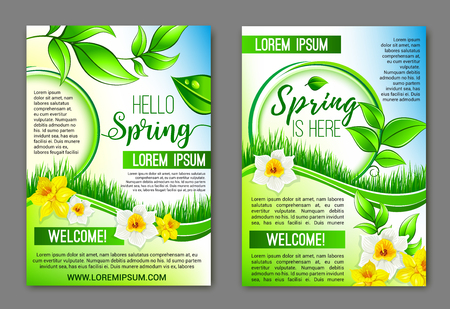 Hello Spring flowers vector floral posters set Ilustrace