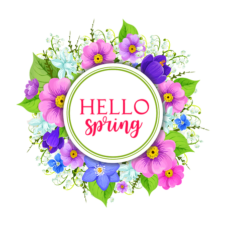 Hello spring floral frame greeting card design