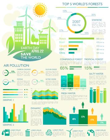 Vector infographics for Earth Day eco environment Vektoros illusztráció