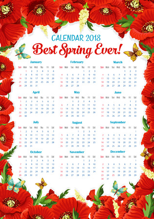 fields  grass: Vector calendar 2018 of spring poppy flowers frame