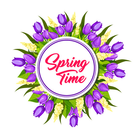 Spring floral wreath frame greeting card design Ilustração