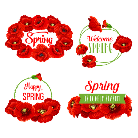 Vector spring flowers bunches for greeting quotes