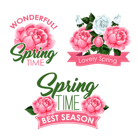 Vector springtime roses bunches of greeting quotes