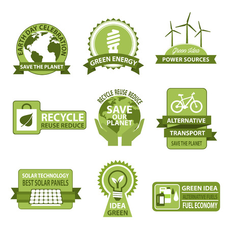 globe logo: Vector icons for Earth Day and Save Planet Nature
