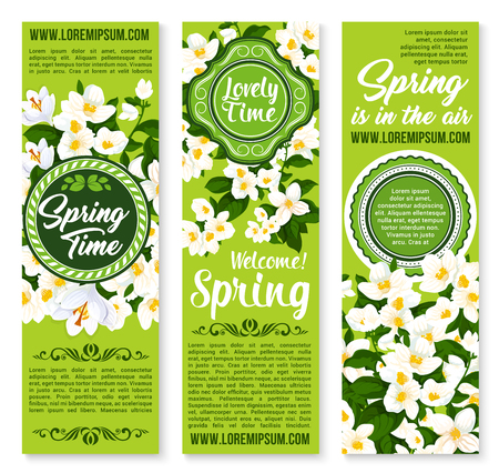 봄 시간 휴가 소원 또는 인사말 벡터 배너
