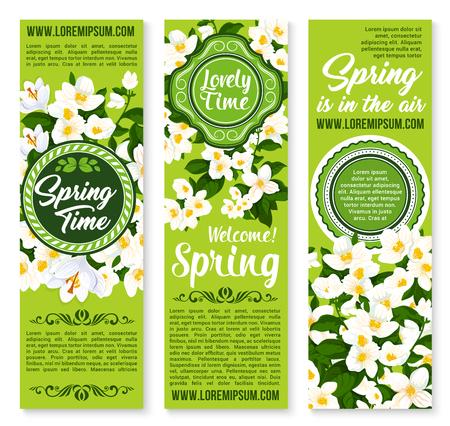 Vacaciones de primavera tiempo deseo o saludo vector banners