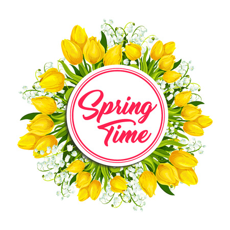 Spring flower wreath of tulip, lily greeting card