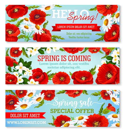 Vector banners for spring time flowers sale Çizim