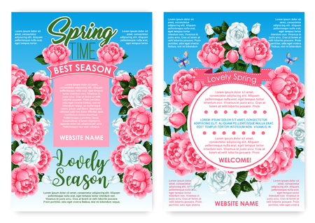 Posters rose flowers for spring holiday greetings