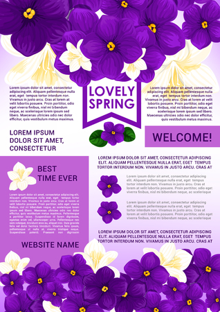 Welcome Spring poster template with floral border Ilustrace