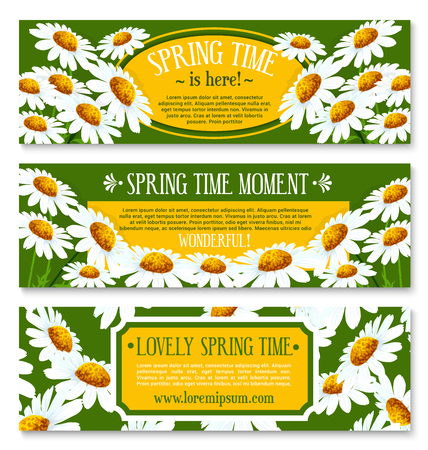 Spring banner set with springtime flowers