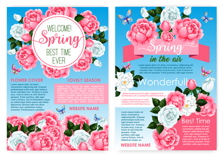 Posters for spring holiday of vector roses flowers Illustration
