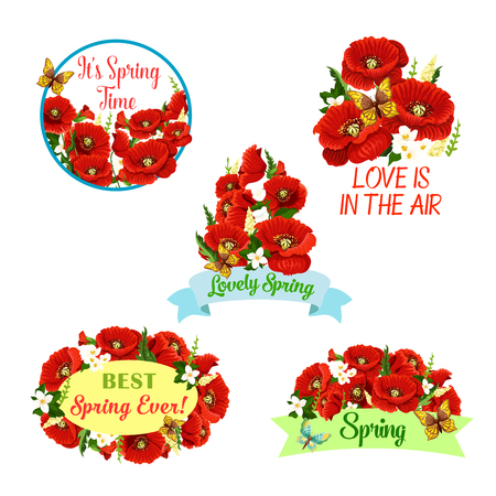 Vector flowers wreath set for spring time quotes