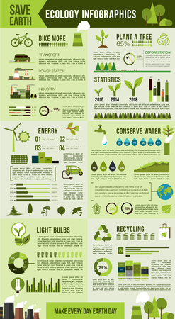 Eco environment protection infographic design Vectores