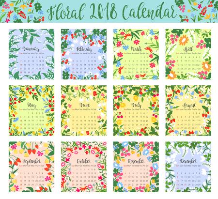 野生の花とベリー フレーム花カレンダー
