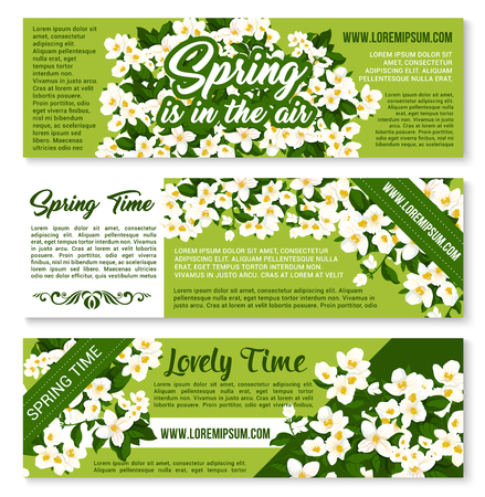 Vector Spring time floral greeting banners Illustration