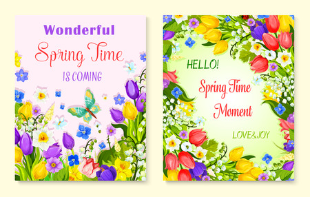 Spring flower greeting card with floral background