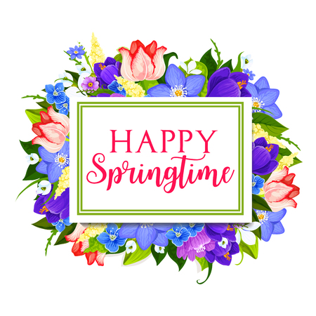 Spring holidays greeting card with floral frame Çizim