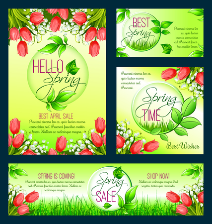 flower blooming: Spring sale banner template with blooming flower