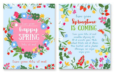 Spring holiday poster with flower and berry wreath Ilustracja