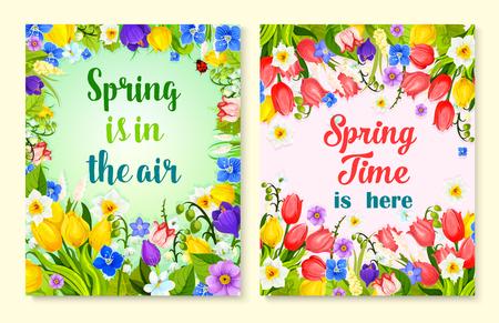 Lente bloem kaart met bloemen frame en border