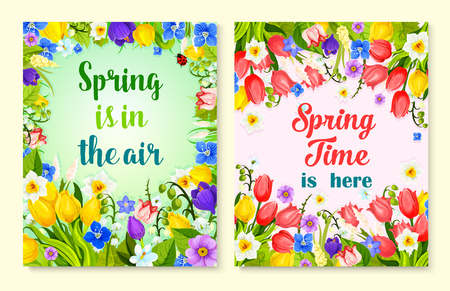 Spring flower card with floral frame and border