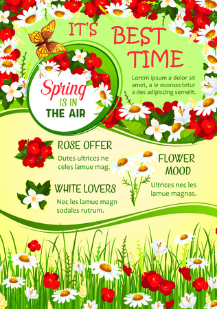 Spring holidays flower wreath greeting poster