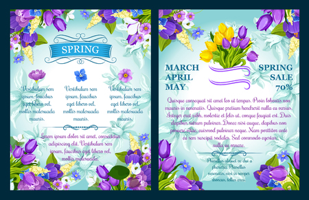 Vector floral posters for spring sale shopping Çizim