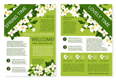 jasmin: Vector spring time posters of white flowers wreath Illustration