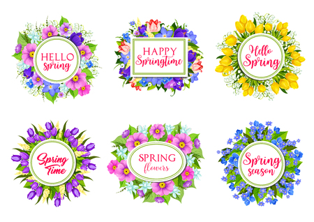 violet: Vector flowers bouquets for Hello Spring quotes