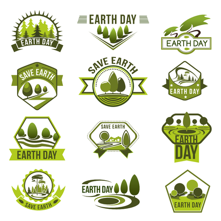 Eco badge set of green nature landscape with tree and plant, forest meadow, and park alley views symbol with ribbon banner for Earth Day Ilustracja