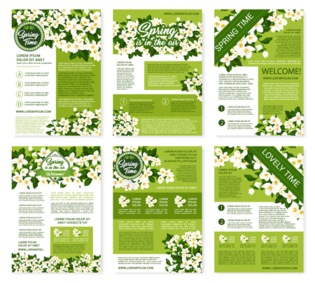 jasmin: Springtime greetings design on vector posters or brochures templates set. Welcome Spring wishes and quotes for spring holidays with blooming white crocuses or lily flowers and daisy blossoms