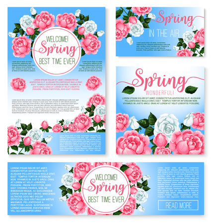Vector templates set for spring time greetings Ilustrace