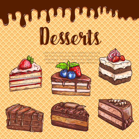 Vector waffle poster with dessert cakes and pies Banco de Imagens - 76257840