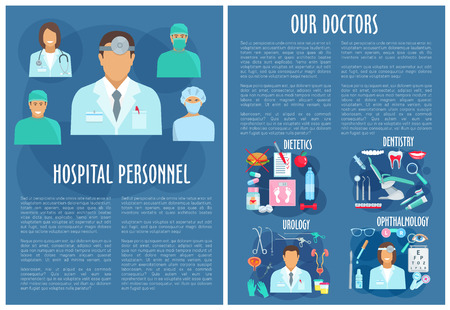 diabetes syringe: Hospital personnel medical vector poster