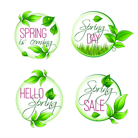Vector leaf grass of spring time isolated quotes