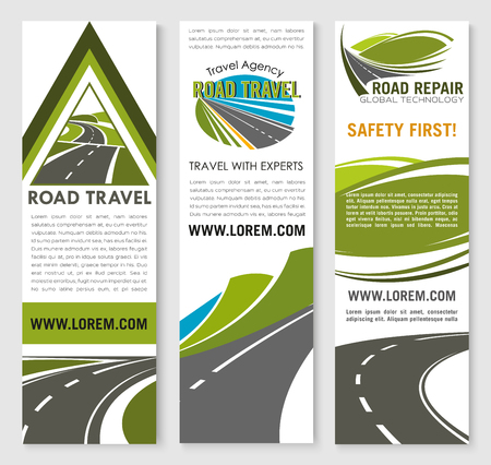 building safety: Road safety construction and repair service banners for travel ot transportation company. Design of highway safe building with tunnels and bridges for motorway transport journey trip Illustration