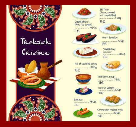 lunch meal: Turkish restaurant vector menu template and cover design with traditional Turkey cuisine meat dishes, vegetable salads and soups or appetizer snacks and desserts or food meal lunch offer