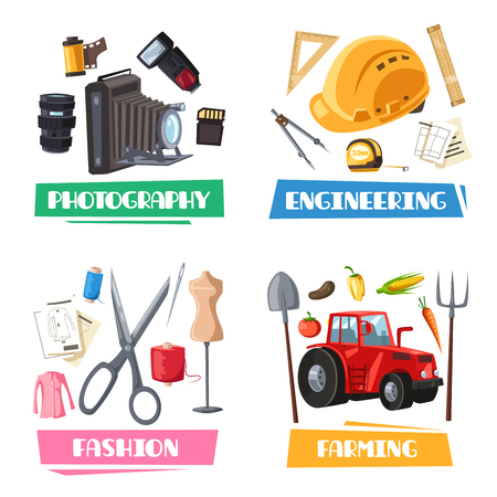 Profession vector items, tools and accessories. Photography camera flash, engineering ruler and construction project, fashion designer or dressmaker scissors and sewing thread, farming harvest tractor Illustration