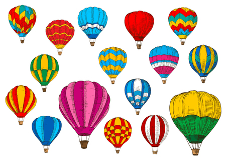 Hot air balloon vector sketch icons. Vector isolated patterned inflated hoppers or cloudhopper balloons aircraft with zig zag, stripes and ornament design and gondola in tourist flight