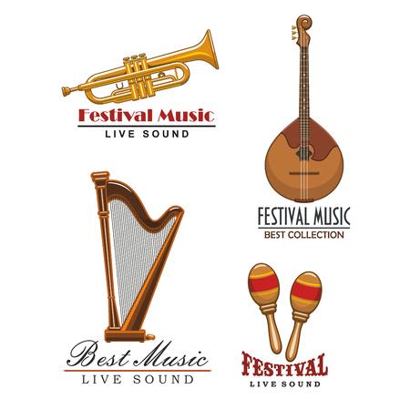 Live muziekfestival of geluid concert vector iconen set van muziekinstrumenten met saxofoon, trompet, orkest harp en maracas, en snaar gitaar of banjo Stock Illustratie