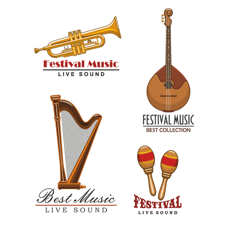 Live music festival or sound concert vector icons set of musical instruments with saxophone, trumpet, orchestra harp and maracas, and string guitar or banjo
