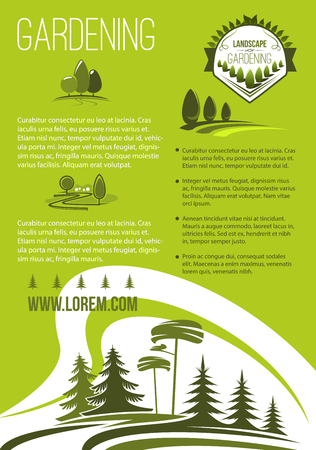 Landscape and gardening company vector poster. Garden landscaping design and greenery planting association. Outdoor nature and woodlands landscape of village or urban and city park trees
