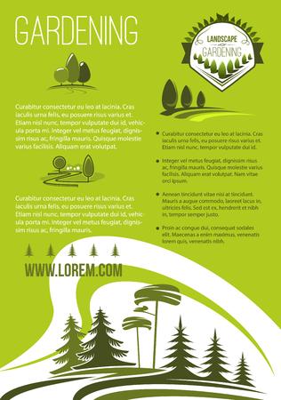 Landschap en tuinieren bedrijf vector poster. Tuinaanleg ontwerp en groen aanplant vereniging. Openluchtaard en bossenlandschap van dorp of stedelijke en stadsparkbomen