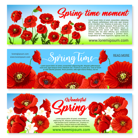 Happy Spring banners set templates with holiday greetings and quotes. Springtime nature design of blooming poppy and orchid bouquets or daffodils blossoms and bunches on grass field with butterflies Illustration